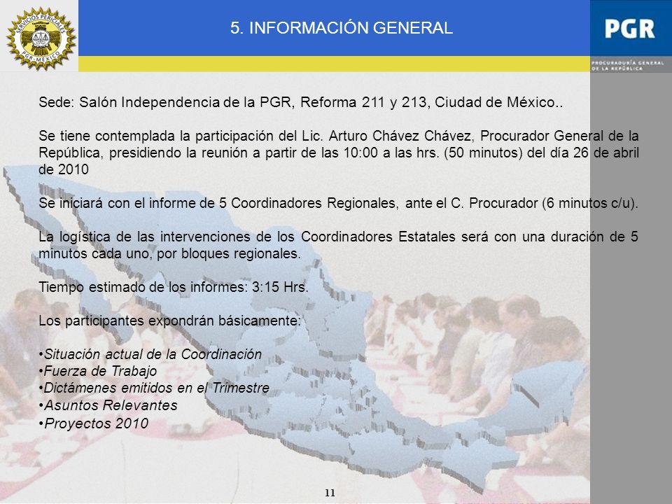 11 Sede: Salón Independencia de la PGR, Reforma 211 y 213, Ciudad de México.. Se tiene contemplada la participación del Lic. Arturo Chávez Chávez, Pro