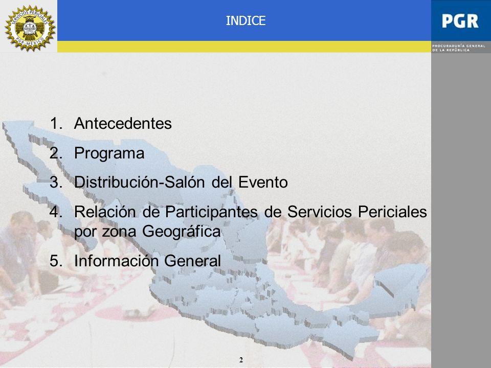 2 1.Antecedentes 2.Programa 3.Distribución-Salón del Evento 4.Relación de Participantes de Servicios Periciales por zona Geográfica 5.Información Gene