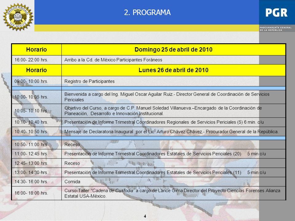 4 2. PROGRAMA HorarioDomingo 25 de abril de 2010 16:00- 22:00 hrs.Arribo a la Cd. de México Participantes Foráneos HorarioLunes 26 de abril de 2010 09