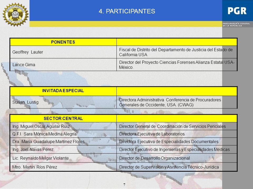 7 4. PARTICIPANTES SECTOR CENTRAL Ing. Miguel Oscar Aguilar RuizDirector General de Coordinación de Servicios Periciales Q.F.I. Sara Mónica Medina Ale