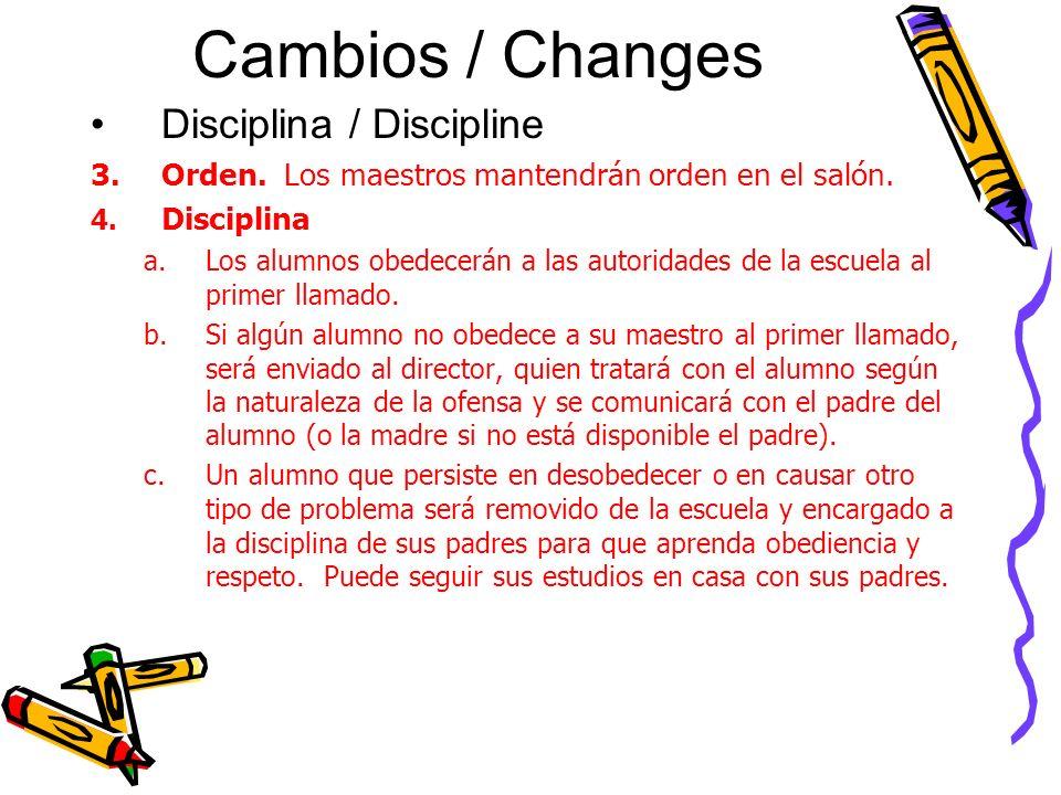 Cambios / Changes Disciplina / Discipline 3.Orden.