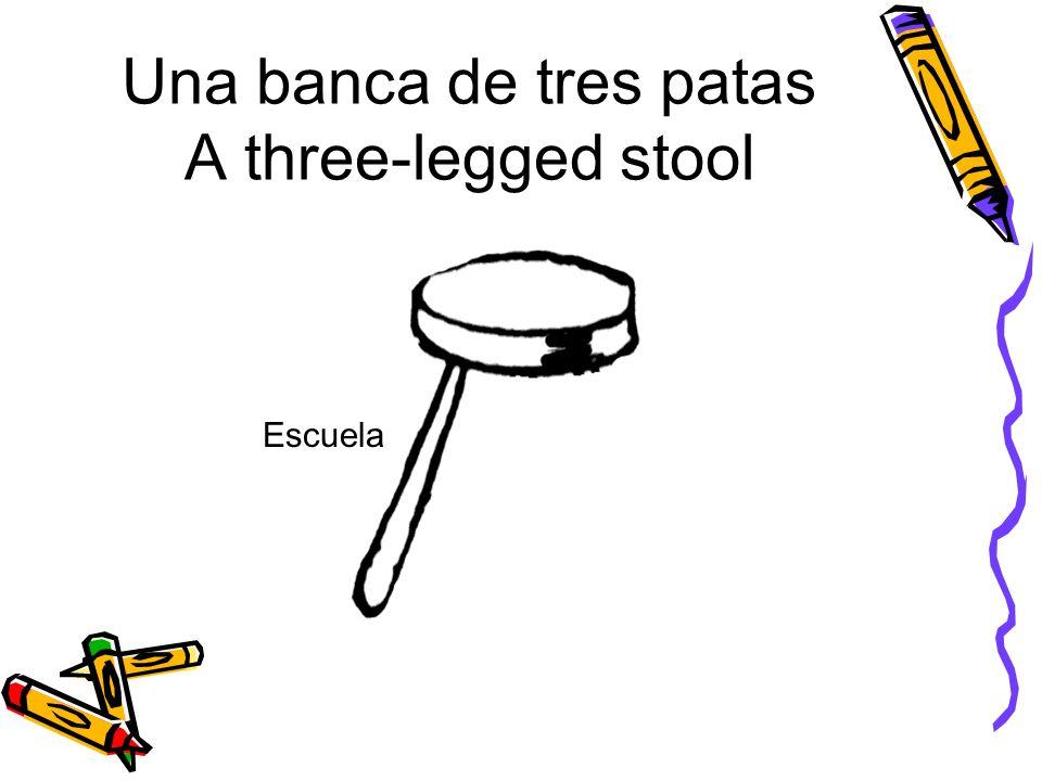 Una banca de tres patas A three-legged stool Escuela