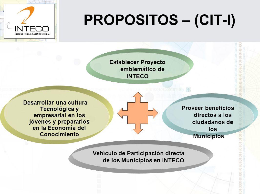 PROPOSITOS – (CIT-I) Desarrollar una cultura Tecnológica y empresarial en los jóvenes y prepararlos en la Economía del Conocimiento Vehículo de Partic