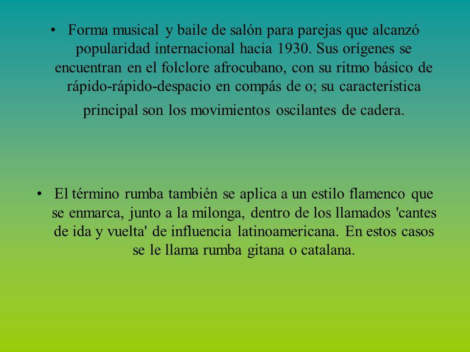 Baile de origen africano, cuya raíz es el cumbé, danza típica de Guinea Ecuatorial, muy popular en Panamá, Venezuela, Perú y sobre todo en Colombia, donde se la considera danza nacional junto al bambues, el pasillo, la guatina, el galerón, la chispa, el porro, el torbellino y otras.