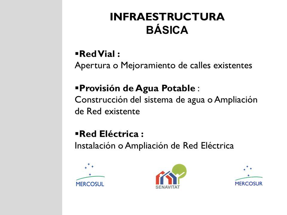 INFRAESTRUCTURA BÁSICA Red Vial : Apertura o Mejoramiento de calles existentes Provisión de Agua Potable : Construcción del sistema de agua o Ampliaci