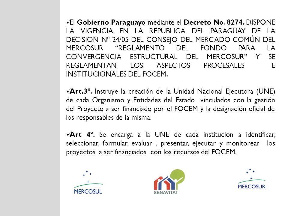 El Gobierno Paraguayo mediante el Decreto No. 8274. DISPONE LA VIGENCIA EN LA REPUBLICA DEL PARAGUAY DE LA DECISION Nº 24/05 DEL CONSEJO DEL MERCADO C