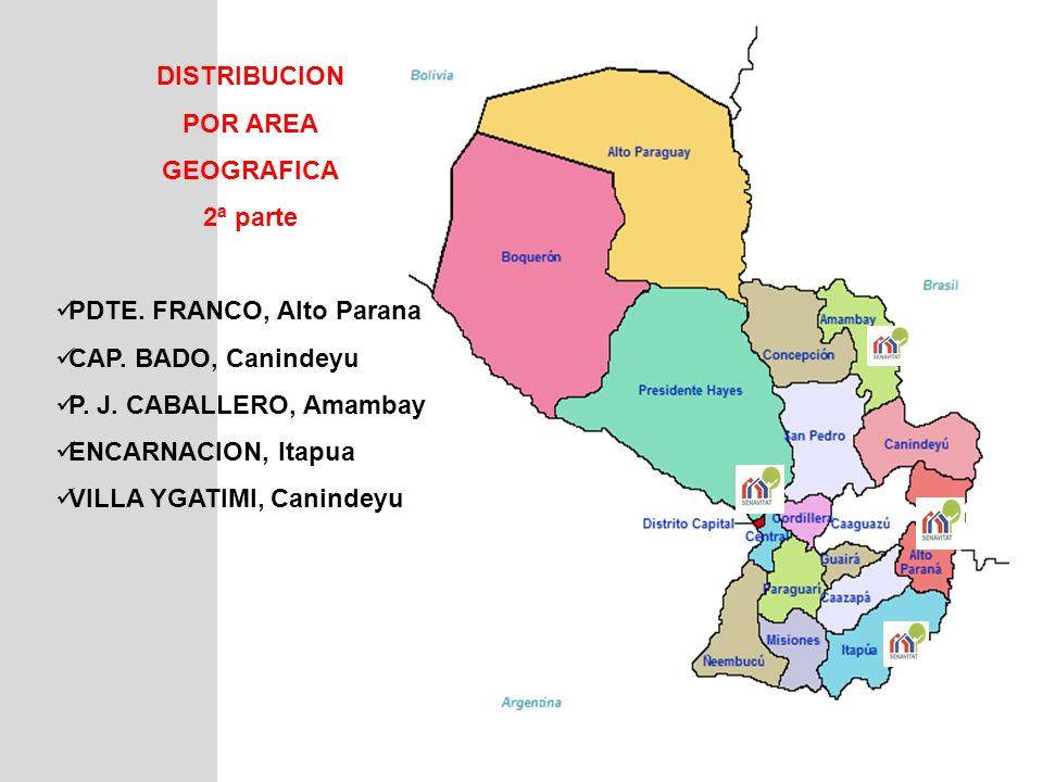 DISTRIBUCION POR AREA GEOGRAFICA 2ª parte PDTE. FRANCO, Alto Parana CAP. BADO, Canindeyu P. J. CABALLERO, Amambay ENCARNACION, Itapua VILLA YGATIMI, C