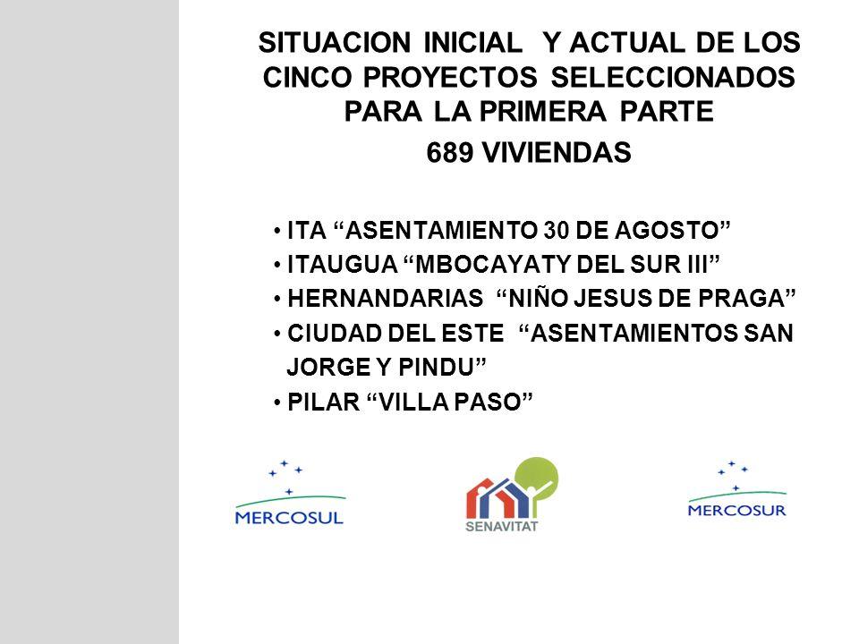 SITUACION INICIAL Y ACTUAL DE LOS CINCO PROYECTOS SELECCIONADOS PARA LA PRIMERA PARTE 689 VIVIENDAS ITA ASENTAMIENTO 30 DE AGOSTO ITAUGUA MBOCAYATY DE