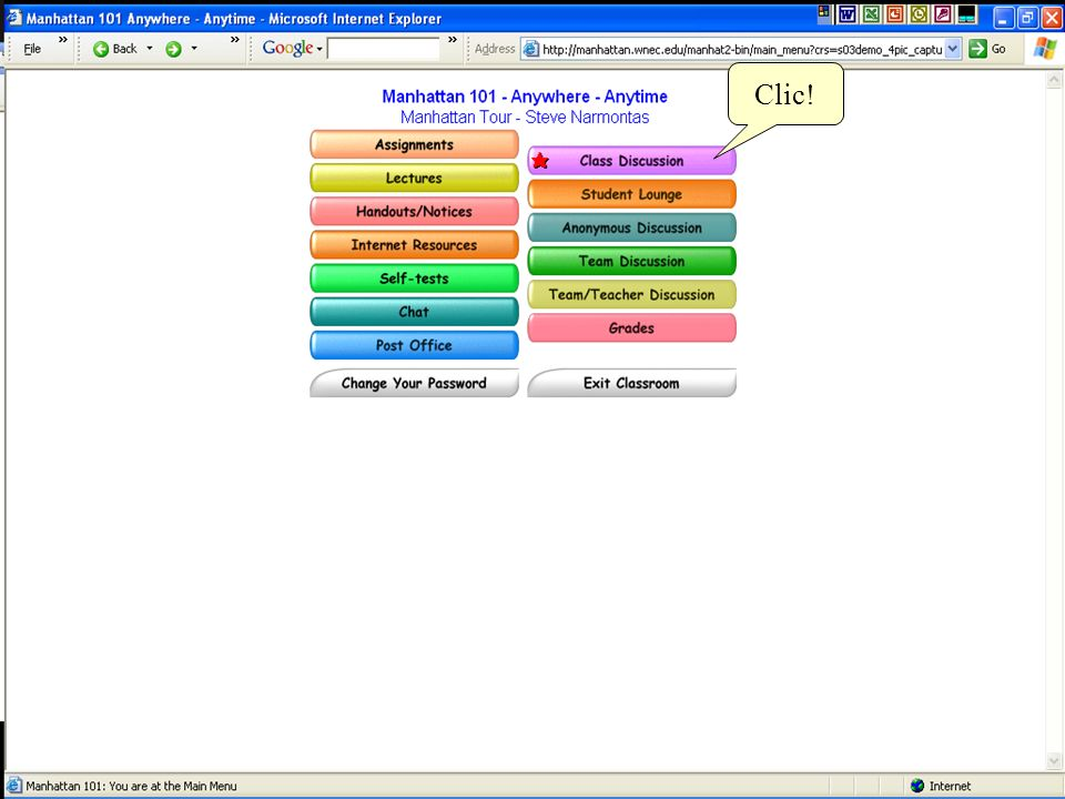 Los Mensajes de Discusión de la Clase son organizados en tópicos.