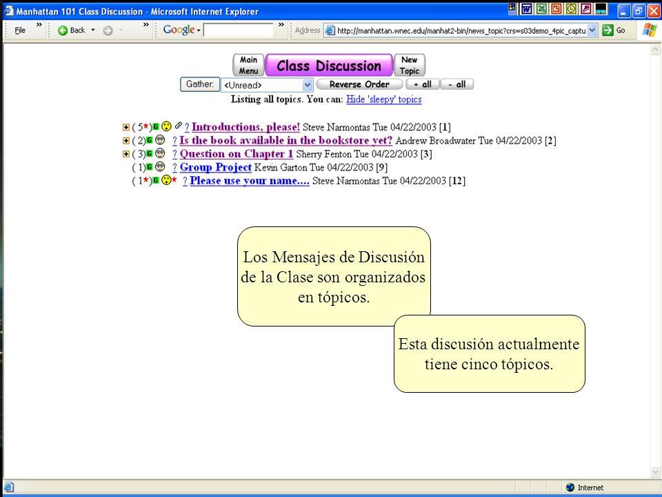 Hay dos clases de mensajes en un grupo de discusión del Salón Virtual Manhattan...