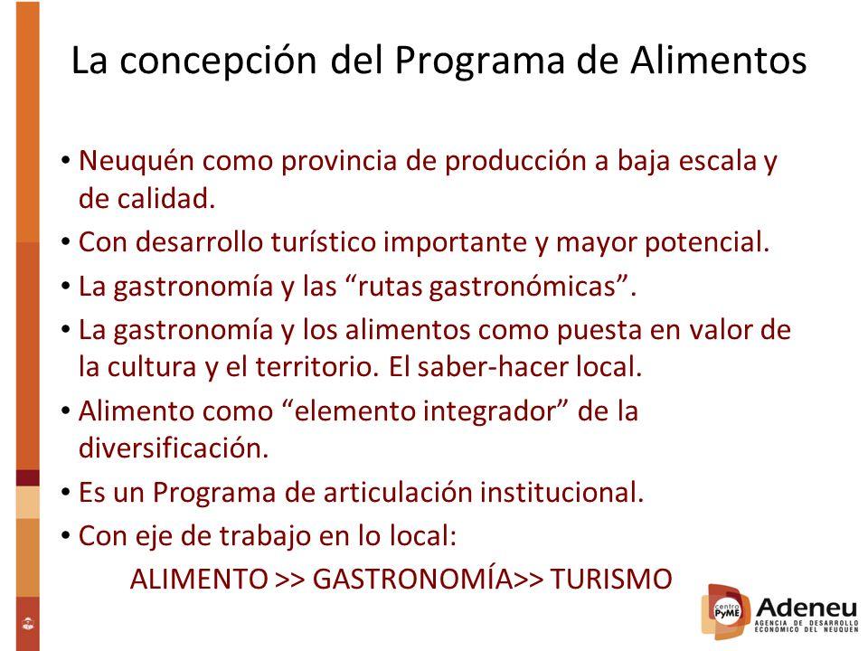 La concepción del Programa de Alimentos Neuquén como provincia de producción a baja escala y de calidad.