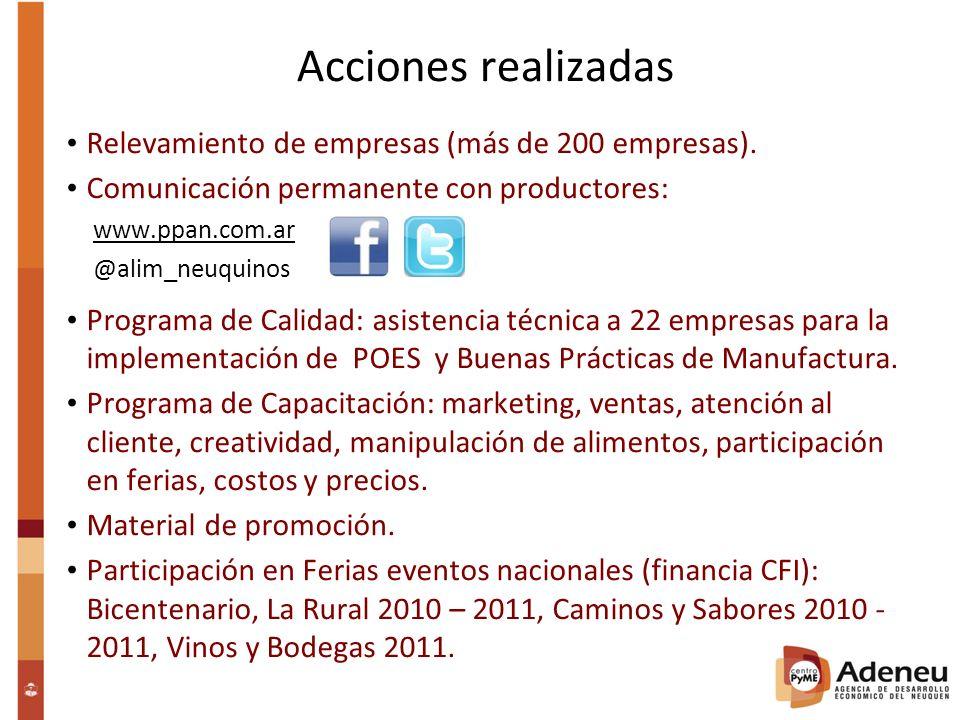 Acciones realizadas Relevamiento de empresas (más de 200 empresas).