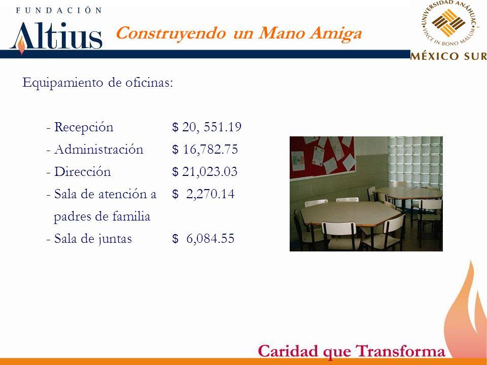 Construyendo un Mano Amiga Equipamiento de oficinas: - Recepción $ 20, 551.19 - Administración $ 16,782.75 - Dirección $ 21,023.03 - Sala de atención