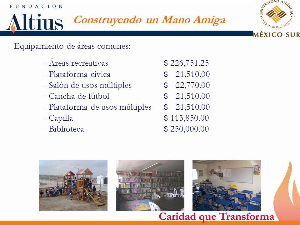 Construyendo un Mano Amiga Equipamiento de áreas comunes: - Áreas recreativas $ 226,751.25 - Plataforma cívica $ 21,510.00 - Salón de usos múltiples $