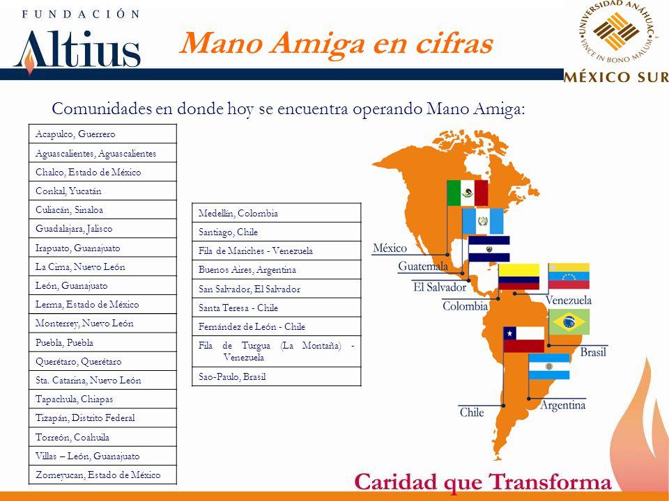 Comunidades en donde hoy se encuentra operando Mano Amiga: Acapulco, Guerrero Aguascalientes, Aguascalientes Chalco, Estado de México Conkal, Yucatán
