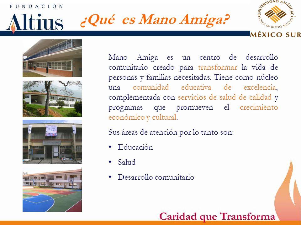¿Qué es Mano Amiga? Mano Amiga es un centro de desarrollo comunitario creado para transformar la vida de personas y familias necesitadas. Tiene como n