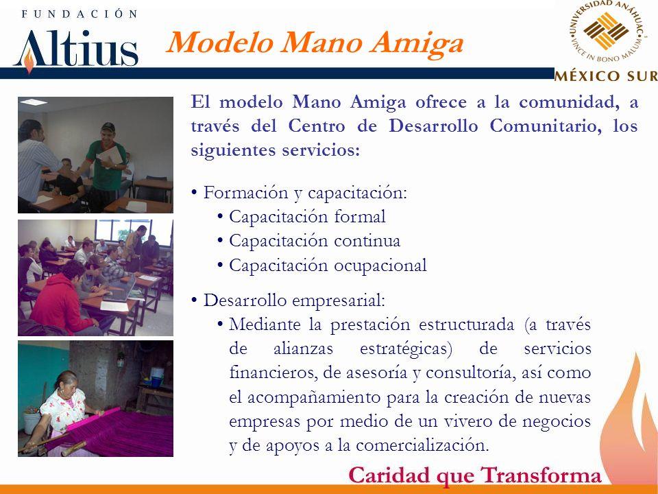 Modelo Mano Amiga El modelo Mano Amiga ofrece a la comunidad, a través del Centro de Desarrollo Comunitario, los siguientes servicios: Formación y cap
