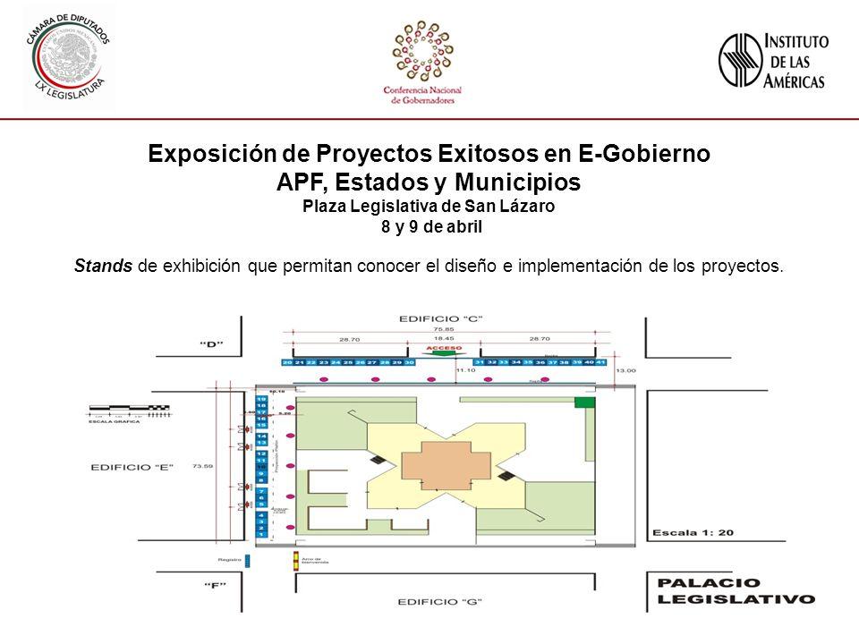 Exposición de Proyectos Exitosos en E-Gobierno APF, Estados y Municipios Plaza Legislativa de San Lázaro 8 y 9 de abril Stands de exhibición que permitan conocer el diseño e implementación de los proyectos.