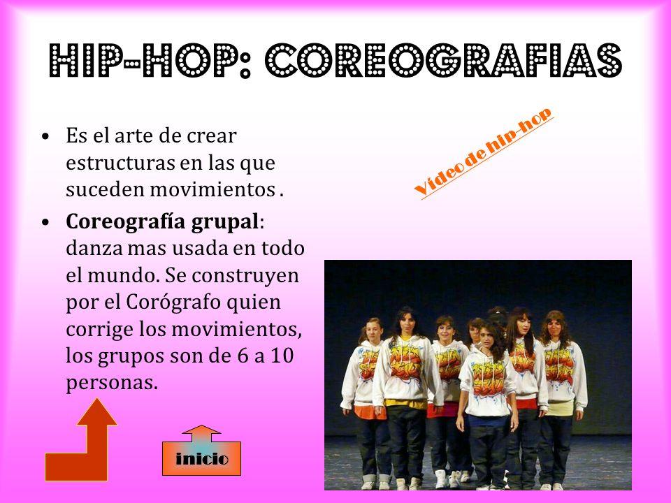 HIP-HOP: CoreografIas Es el arte de crear estructuras en las que suceden movimientos.