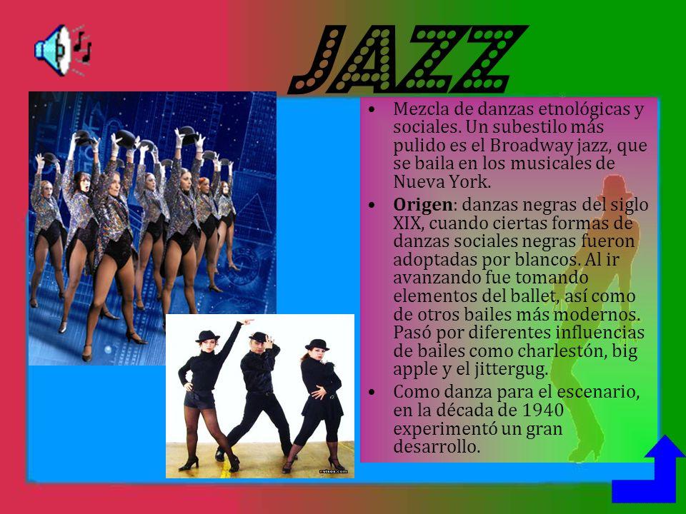 JAZZ Mezcla de danzas etnológicas y sociales.