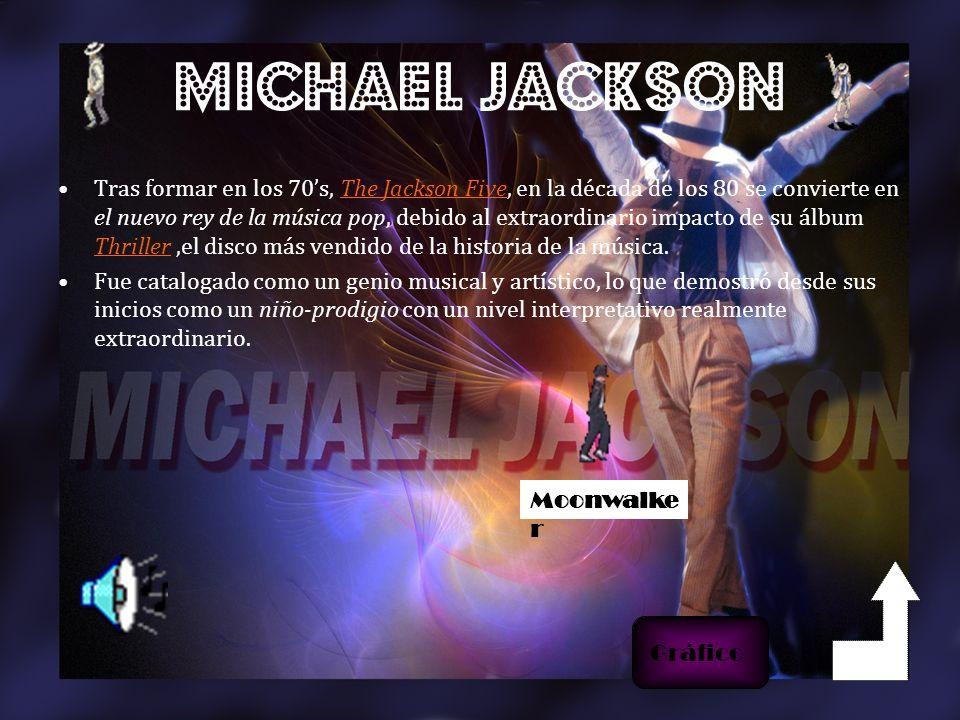 MICHAEL JACKSON Tras formar en los 70s, The Jackson Five, en la década de los 80 se convierte en el nuevo rey de la música pop, debido al extraordinario impacto de su álbum Thriller,el disco más vendido de la historia de la música.The Jackson Five Thriller Fue catalogado como un genio musical y artístico, lo que demostró desde sus inicios como un niño-prodigio con un nivel interpretativo realmente extraordinario.
