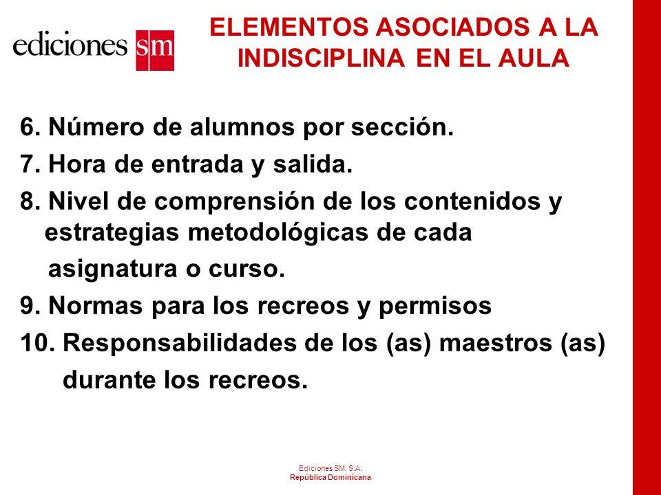 Ediciones SM, S.A. República Dominicana ELEMENTOS ASOCIADOS A LA INDISCIPLINA EN EL AULA 1. Misión, visión y perfil del centro. 2. Identificación con