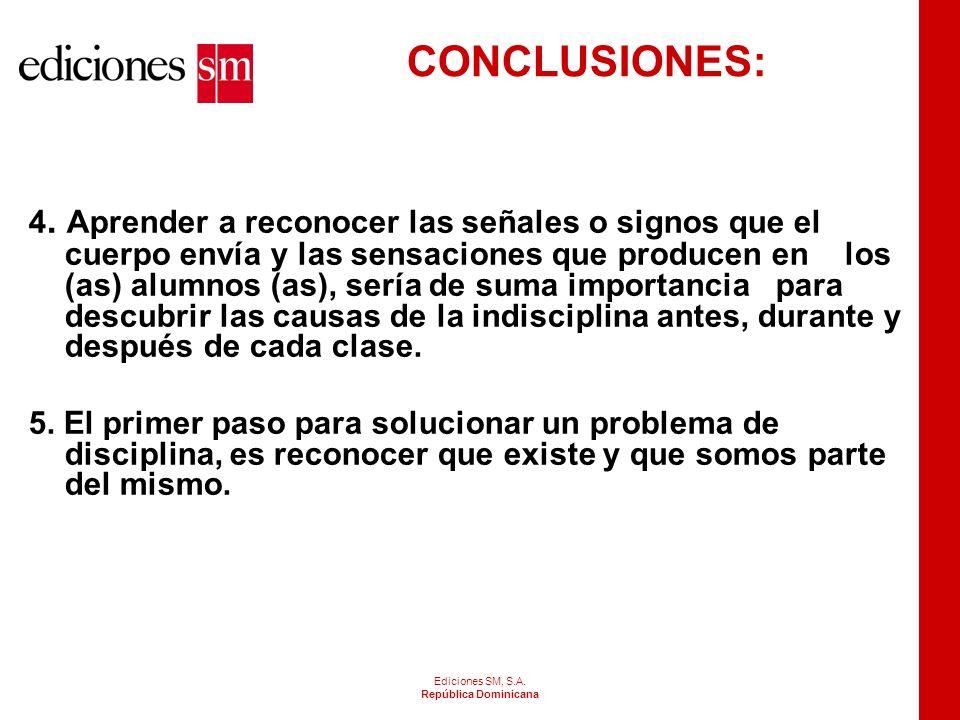Ediciones SM, S.A. República Dominicana CONCLUSIONES 1.La indisciplina es normal en un aula y la misma es causada por la falta de acuerdo entre alumno