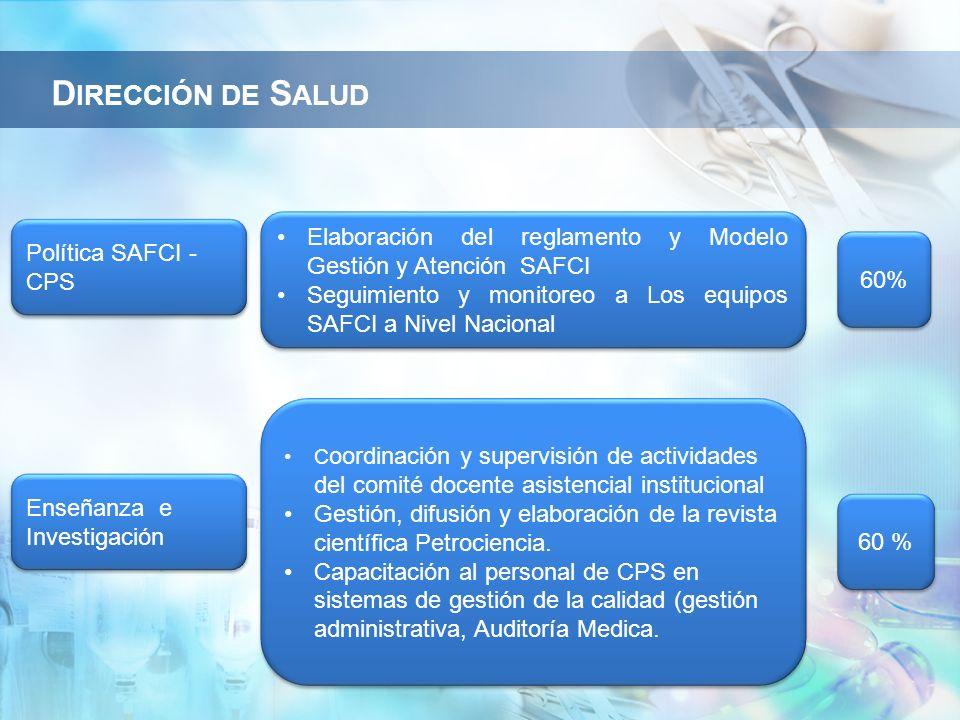 Política SAFCI - CPS Elaboración del reglamento y Modelo Gestión y Atención SAFCI Seguimiento y monitoreo a Los equipos SAFCI a Nivel Nacional Elabora