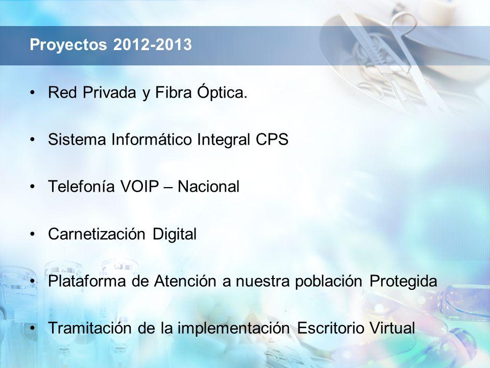 Proyectos 2012-2013 Red Privada y Fibra Óptica. Sistema Informático Integral CPS Telefonía VOIP – Nacional Carnetización Digital Plataforma de Atenció