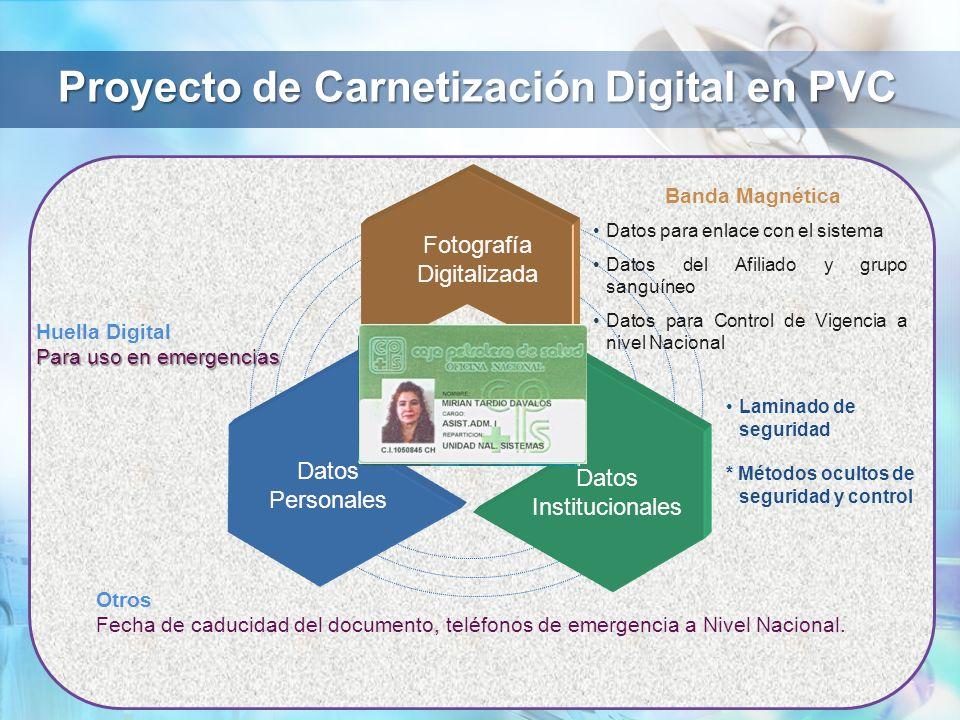 Proyecto de Carnetización Digital en PVC Fotografía Digitalizada Datos Personales Datos Institucionales Banda Magnética Datos para enlace con el siste