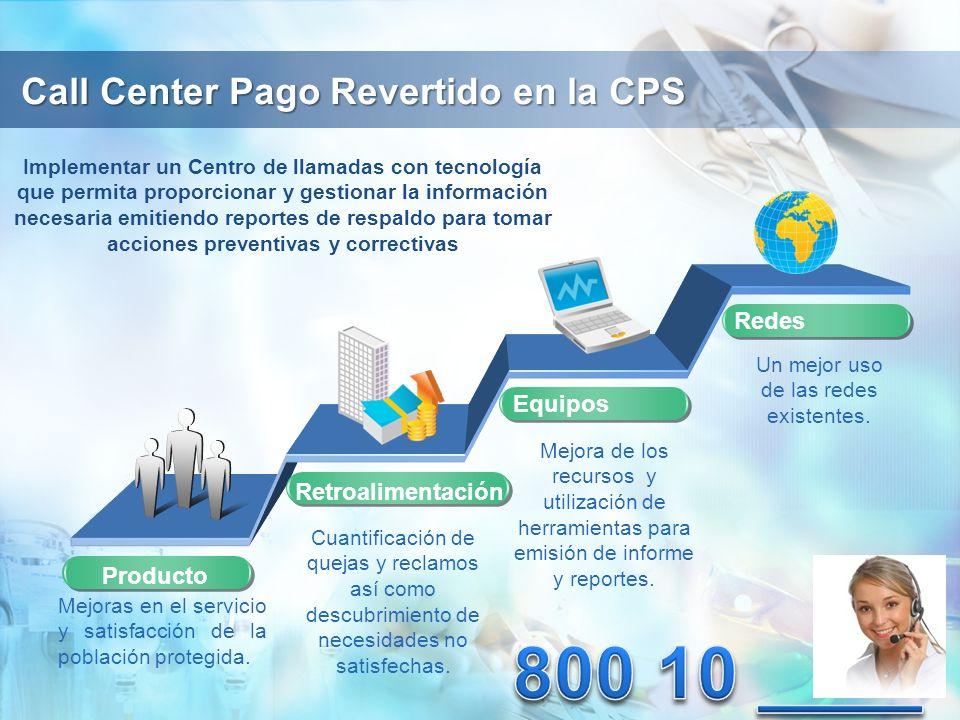 Call Center Pago Revertido en la CPS Producto Implementar un Centro de llamadas con tecnología que permita proporcionar y gestionar la información necesaria emitiendo reportes de respaldo para tomar acciones preventivas y correctivas Mejoras en el servicio y satisfacción de la población protegida.