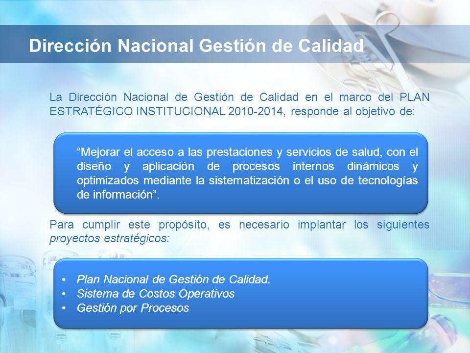 Plan Nacional de Gestión de Calidad. Sistema de Costos Operativos Gestión por Procesos Plan Nacional de Gestión de Calidad. Sistema de Costos Operativ