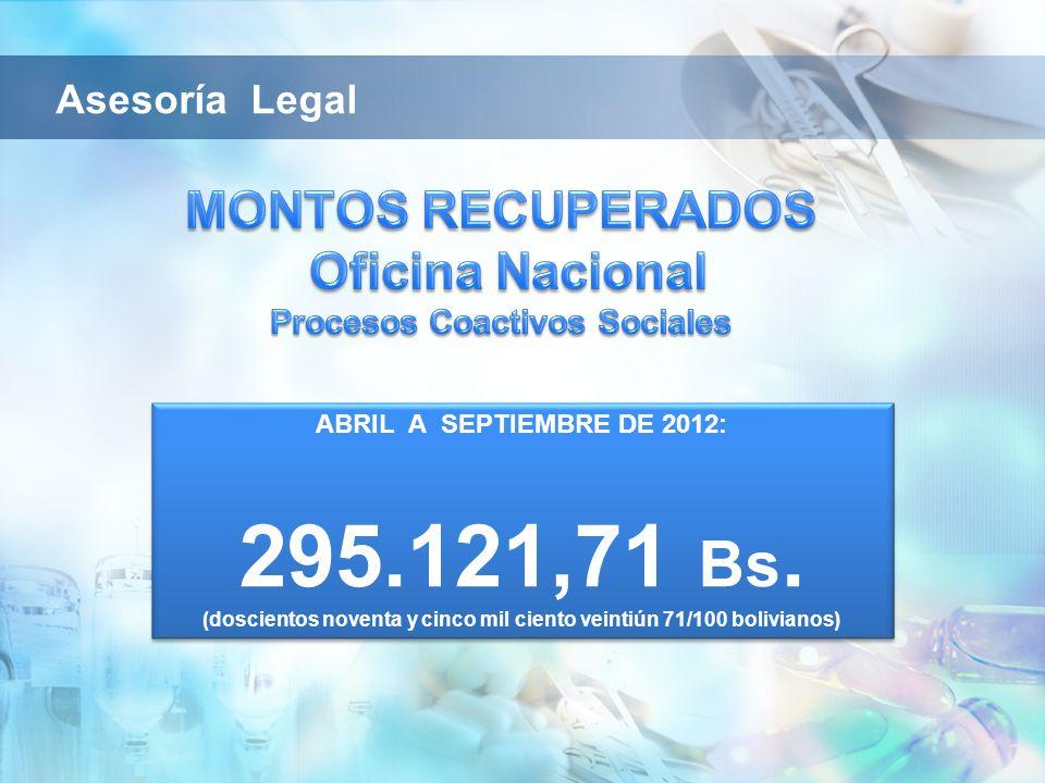 ABRIL A SEPTIEMBRE DE 2012: 295.121,71 Bs. (doscientos noventa y cinco mil ciento veintiún 71/100 bolivianos) ABRIL A SEPTIEMBRE DE 2012: 295.121,71 B