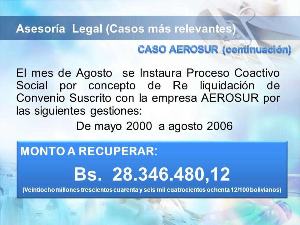 El mes de Agosto se Instaura Proceso Coactivo Social por concepto de Re liquidación de Convenio Suscrito con la empresa AEROSUR por las siguientes ges