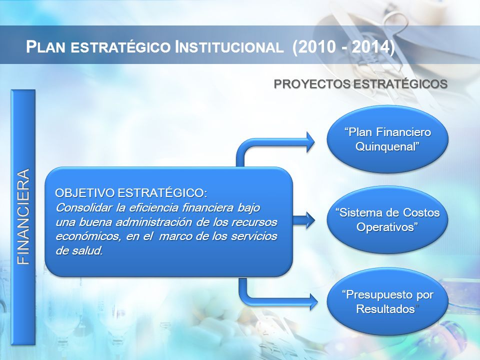 OBJETIVO ESTRATÉGICO: Consolidar la eficiencia financiera bajo una buena administración de los recursos económicos, en el marco de los servicios de sa