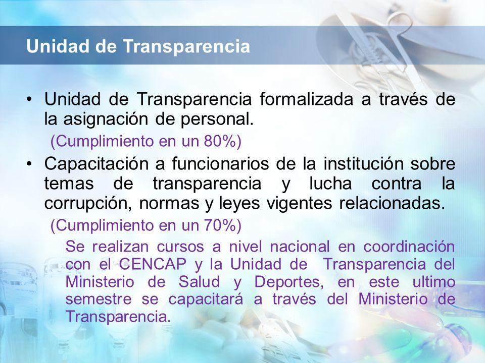 Unidad de Transparencia formalizada a través de la asignación de personal. (Cumplimiento en un 80%) Capacitación a funcionarios de la institución sobr