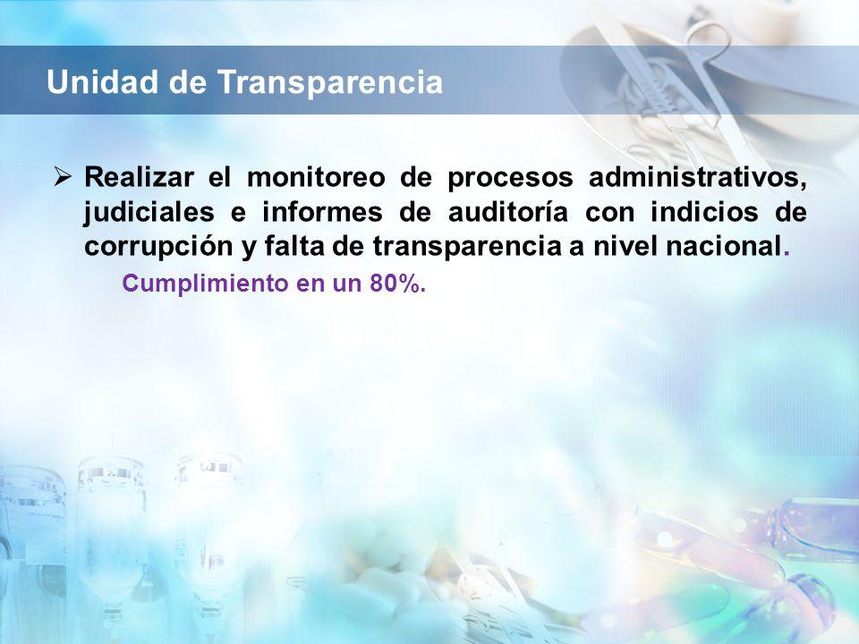 Realizar el monitoreo de procesos administrativos, judiciales e informes de auditoría con indicios de corrupción y falta de transparencia a nivel naci