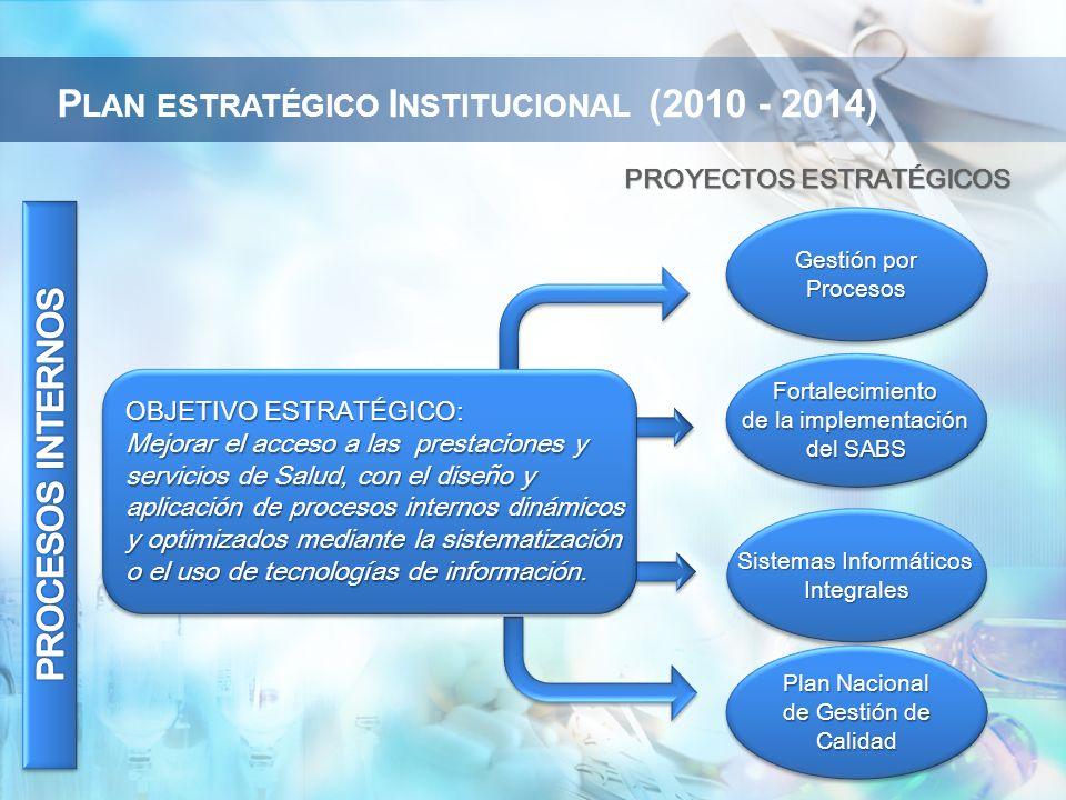 PROYECTOS ESTRATÉGICOS OBJETIVO ESTRATÉGICO: Mejorar el acceso a las prestaciones y servicios de Salud, con el diseño y aplicación de procesos internos dinámicos y optimizados mediante la sistematización o el uso de tecnologías de información.