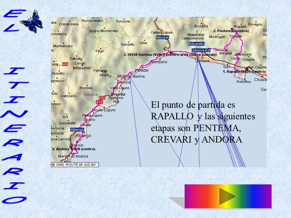 El punto de partida es RAPALLO y las siguientes etapas son PENTEMA, CREVARI y ANDORA