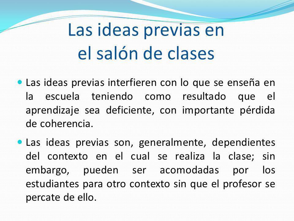 Las ideas previas en el salón de clases Las ideas previas interfieren con lo que se enseña en la escuela teniendo como resultado que el aprendizaje se