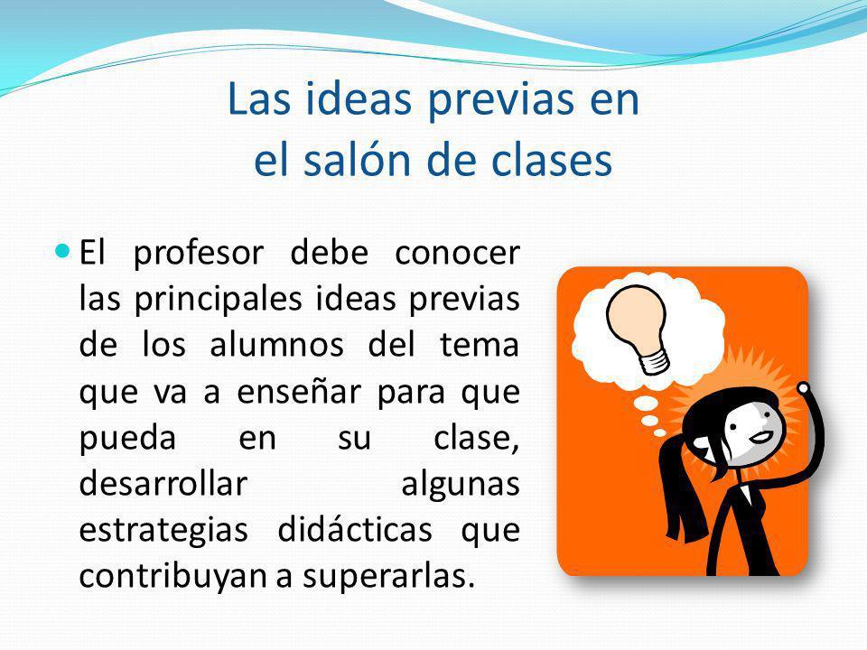 Las ideas previas en el salón de clases El profesor debe conocer las principales ideas previas de los alumnos del tema que va a enseñar para que pueda