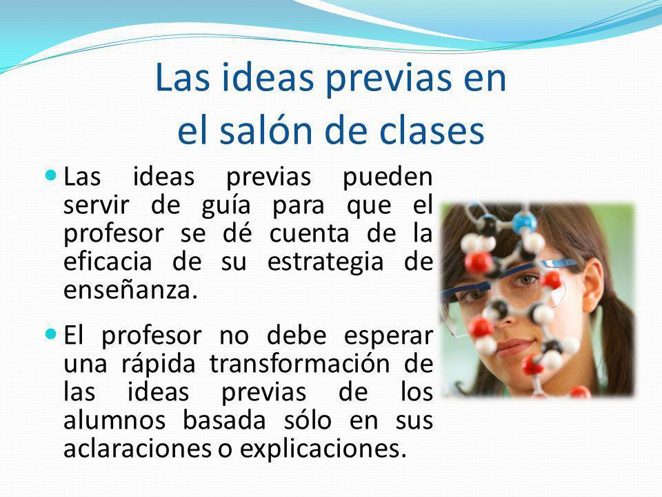 Las ideas previas en el salón de clases Las ideas previas pueden servir de guía para que el profesor se dé cuenta de la eficacia de su estrategia de e