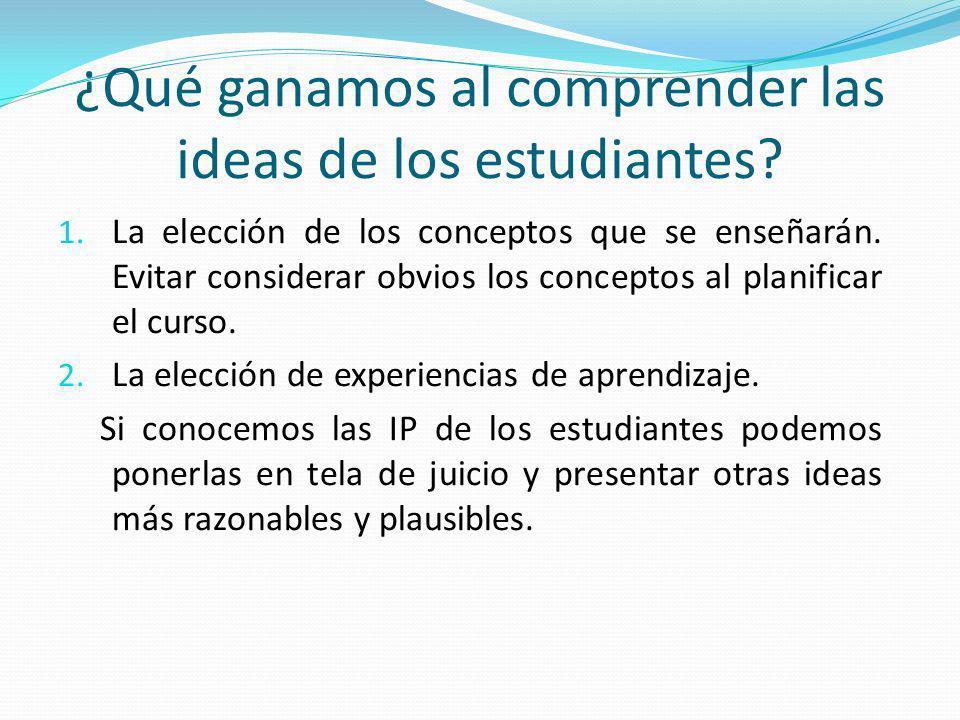 ¿Qué ganamos al comprender las ideas de los estudiantes? 1. La elección de los conceptos que se enseñarán. Evitar considerar obvios los conceptos al p