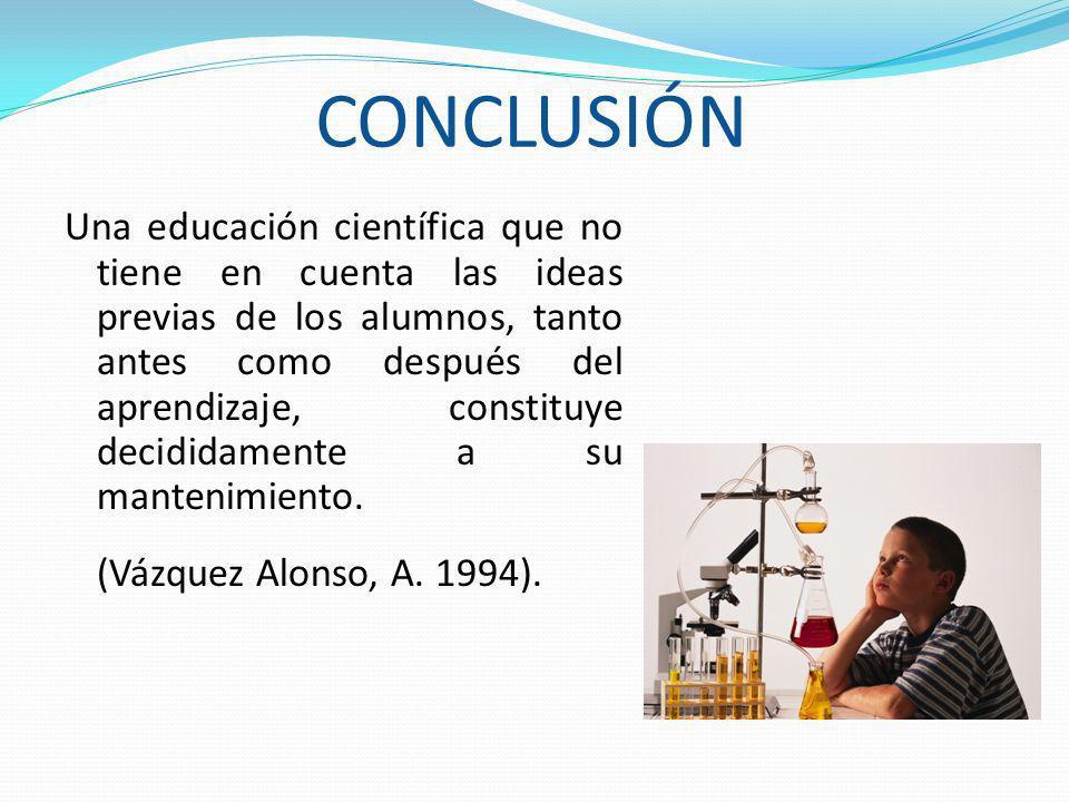 CONCLUSIÓN Una educación científica que no tiene en cuenta las ideas previas de los alumnos, tanto antes como después del aprendizaje, constituye deci