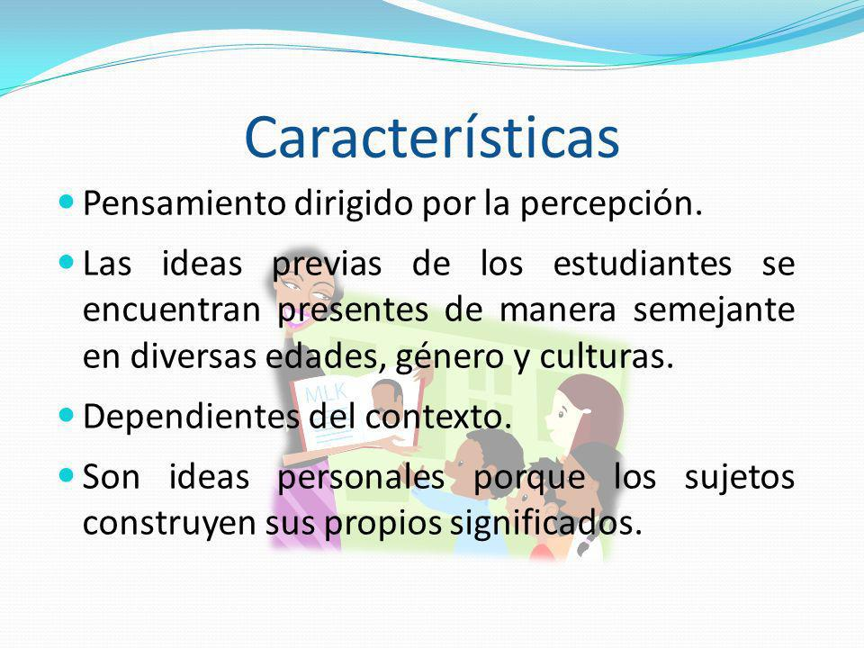 Características Pensamiento dirigido por la percepción. Las ideas previas de los estudiantes se encuentran presentes de manera semejante en diversas e