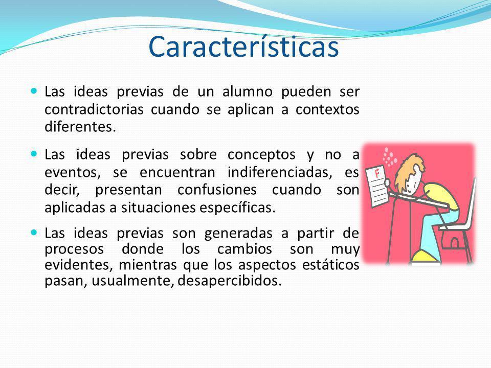 Características Las ideas previas de un alumno pueden ser contradictorias cuando se aplican a contextos diferentes. Las ideas previas sobre conceptos
