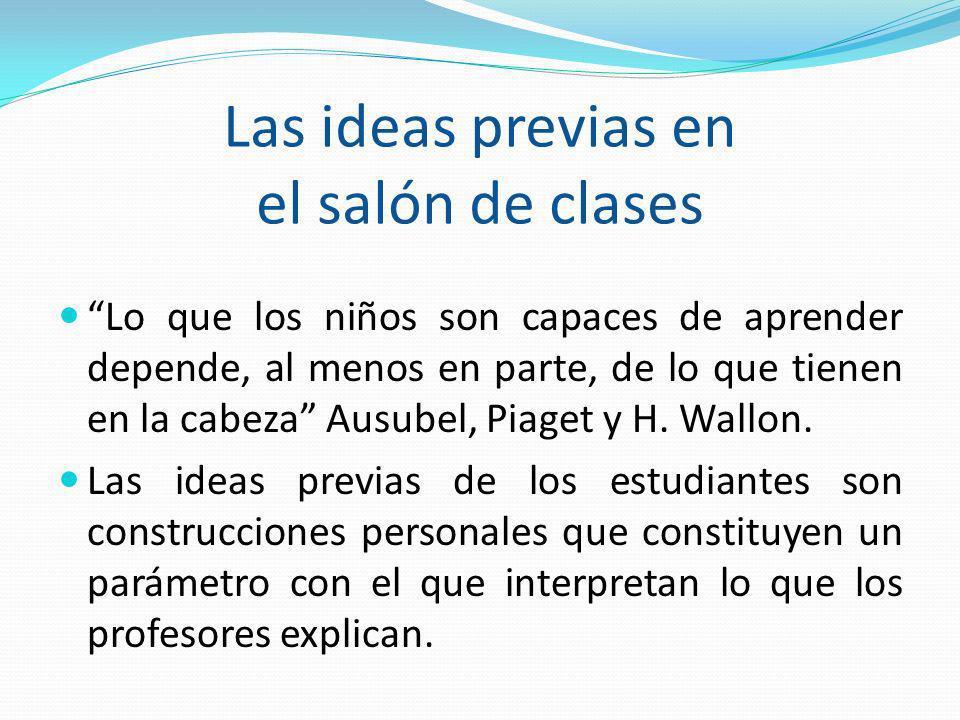 Las ideas previas en el salón de clases Lo que los niños son capaces de aprender depende, al menos en parte, de lo que tienen en la cabeza Ausubel, Pi