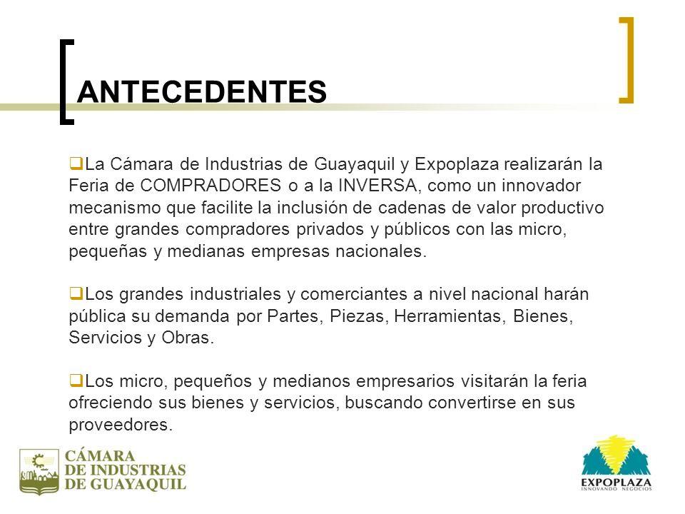 ANTECEDENTES La Cámara de Industrias de Guayaquil y Expoplaza realizarán la Feria de COMPRADORES o a la INVERSA, como un innovador mecanismo que facil