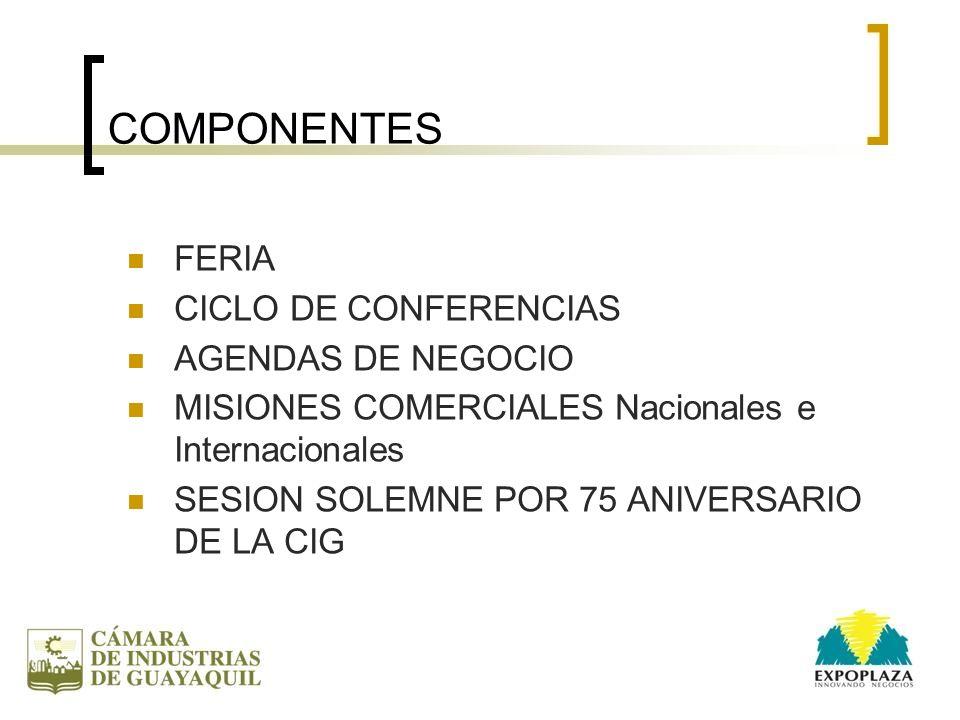 COMPONENTES FERIA CICLO DE CONFERENCIAS AGENDAS DE NEGOCIO MISIONES COMERCIALES Nacionales e Internacionales SESION SOLEMNE POR 75 ANIVERSARIO DE LA C