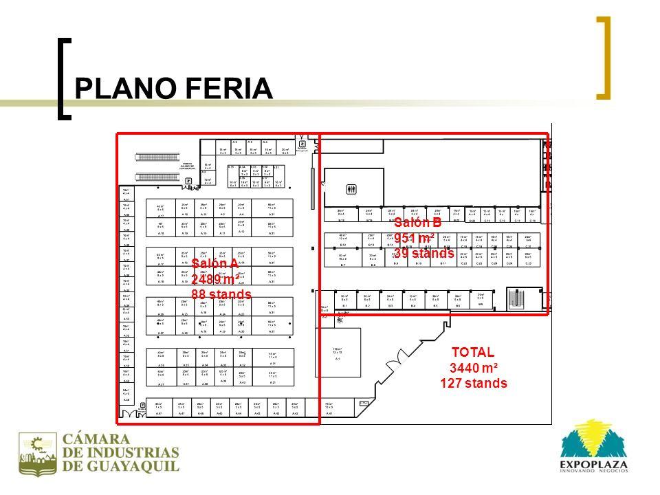 PLANO FERIA Salón A 2489 m² 88 stands Salón B 951 m² 39 stands TOTAL 3440 m² 127 stands